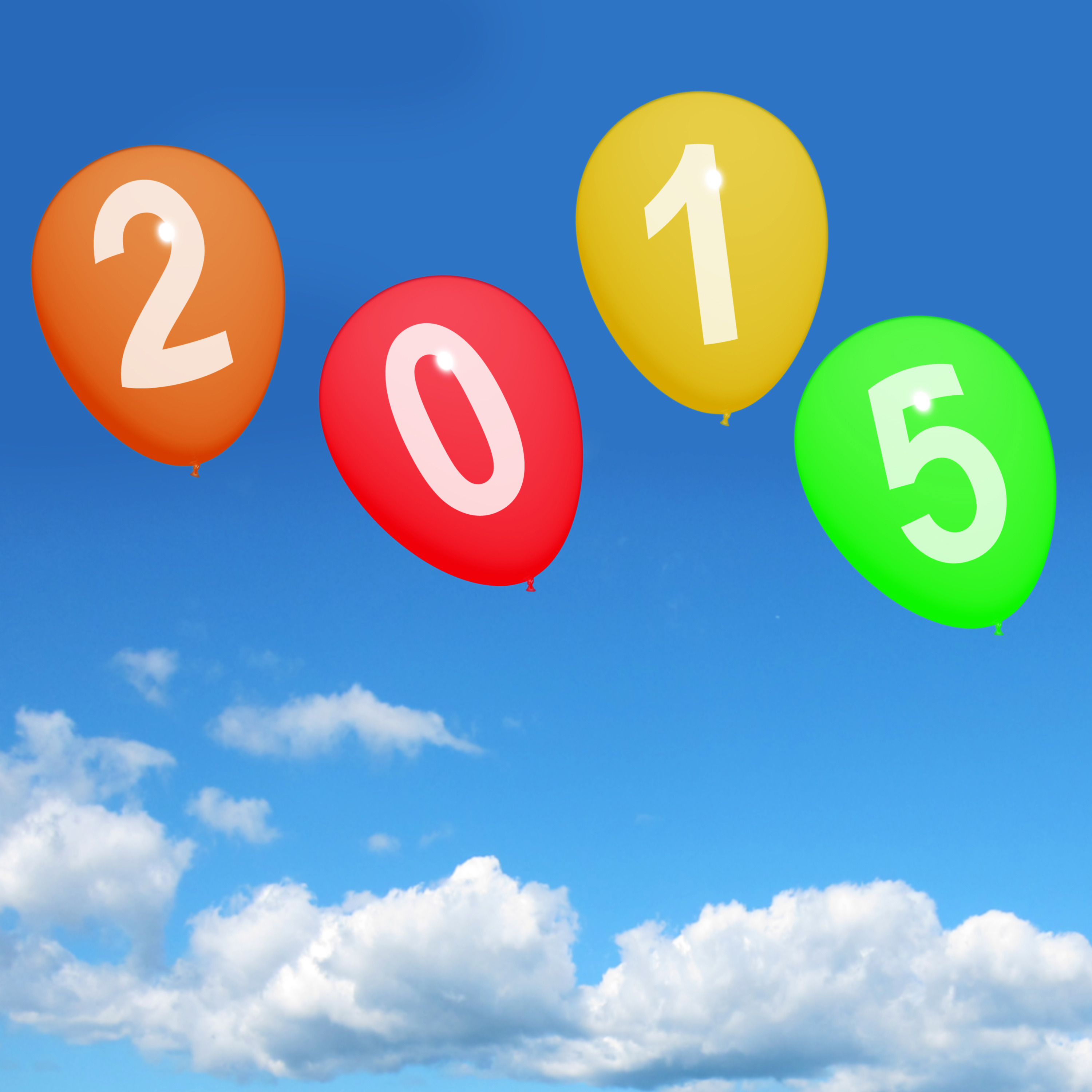 2015 On Balloons Representing Year Two Thousand And Fifteen Celebrations